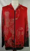 Chico's Travelers Hoodie Red Oriental Print Wrinkle-Free Knit Stretch Plus Sz 2