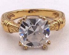Sterling Silver Gold Tone Cubic Zirconia Cushion Cut Ring Size 8.75
