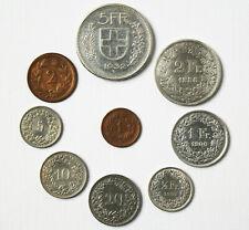 Münzsammlung Schweiz 9 Münzen davon 4 aus 835 Silber von 5 Franken bis 1 Rappen