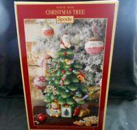 "New Spode Christmas Tree Pattern Cookie Jar w/Santa Finial 12"" Tall $200.00 w2s7"