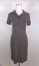 ENFOCUS STUDIO WOMENS BLACK IVORY SHORT SLEEVE SHIRT DRESS SIZE 4
