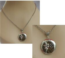 Steampunk Necklace Fairy Locket Pendant Jewelry Handmade Cosplay Chain Silver
