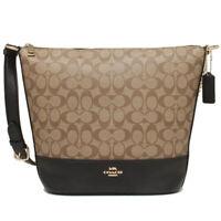NWT COACH Paxton Duffle Bag Crossbody Gold Chain Logo Canvas Khaki Black F72852
