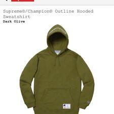 Supreme Champion Outline Hoodie Dark Olive L Bogo Bandana Chrome Motion S Logo