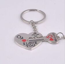 "I Love You"" Heart+Arrow + Key Couple Key Chain Ring Keyring Keyfob Lover Sale"