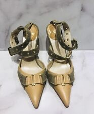 Christian DIOR by John Galliano 2002 Beige Leather Khaki Fabric Strappy Heels