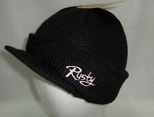 RUSTY BLACK PINK VISOR OSFM HAT BEANIE SKULLY CAP SNOW SURF BOARD VOLCOM STYLE