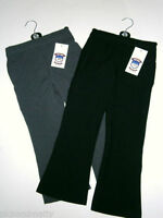 Girls Elasticated School Trousers Black Grey Half Elastic Waist Size 2-12 Years