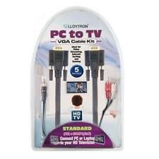 Lloytron A2603 5m PC to TV Cable Kit Standard VGA Video & Audio Phono Cables New