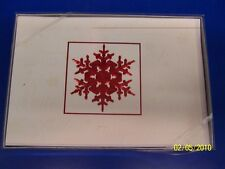 Snowflake Red White Winter Christmas Holiday Party Gift Boxed Greeting Cards