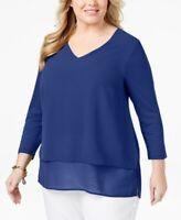 Michael Kors Women's 2x Plus Size Ruffled V-Neck Blouse Top, Blue, $68, NwT