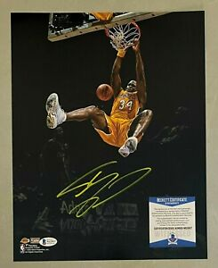 Shaquille O'Neal Signed 11x14 Photo Beckett BAS WITNESSED COA Lakers HOF