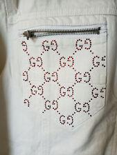 New $385 G By Guess Custom Mens White Button Down Rhinestone Denim Jacket Size L