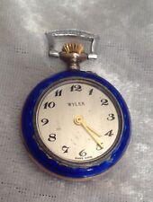 Enamel Swiss Watch. Repair? Battery? Small Vintage 800 Solid Silver &