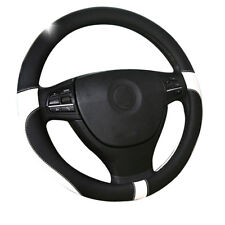 Sport Daniepi leather steering wheel cover 38cm Black & white Top Layer Leather