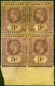 Cayman Islands 1914 3d on Lemon SG45b Good Used Block of 4