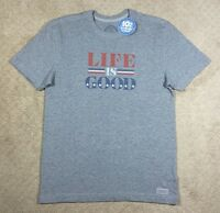 Men's Life is Good Crusher Gray Patriotic Short Sleeve T-Shirt
