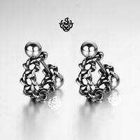 Silver stud star of David pattern stainless steel earrings huggies cuff screw on