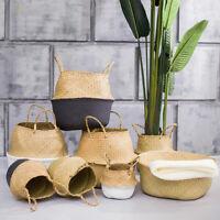 Rattan Straw Basket Wicker Seagrasss Folding Laundry Flower Pot Vase Basket