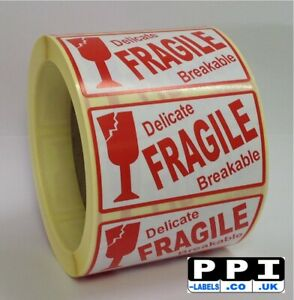 Fragile Delicate Breakable Glass Icon Labels Stickers On Roll 70x40 FRA-10-ROLL