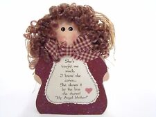 Wood Block My Angel MOTHER in Red