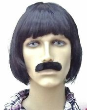 Men's Brown Bob Style 70's Pop Band Fancy Dress Wig and Thick Droop Moustache
