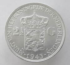 Netherlands East Indies, 2 1/2 Gulden, 1943, D, KM331, Silver 720, aUNC, Scarce