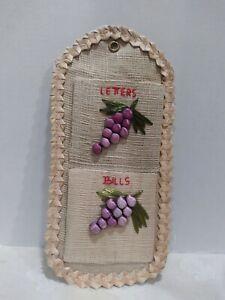 Vintage Woven Straw Wicker Letter Mail Bill Holder Wall Organizer Kitsch