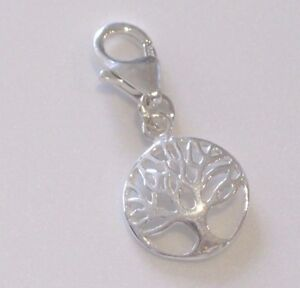 925 Sterling Silver Domed Tree of Life Charm with Lobster Clasp Clip on Bracelet