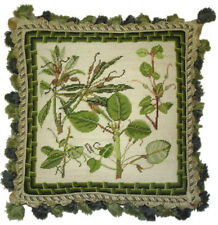 """14"""" x 14"""" Handmade Wool Needlepoint Petit Point Green Leaves Pillow with Tassels"""