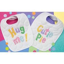 Dimensoins 73102 Cutie Patootie Bibs Baby Hugs Stamped Cross Stitch Kit