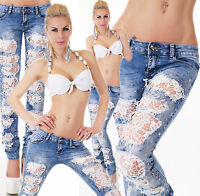 jeans donna strappi pizzo bianco ricamato borchie&stelle pantalone skinny nuovo