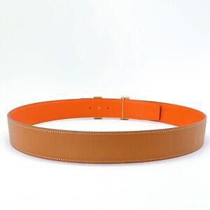 Handmade 42mm Reversible leather belt Orange 95,100 Free Shipping