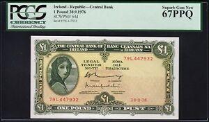 IRELAND REPUBLIC 1 POUND 30-9-1976 PCGS 67 SUPERB GEM NEW (UNC) PPQ P.64d
