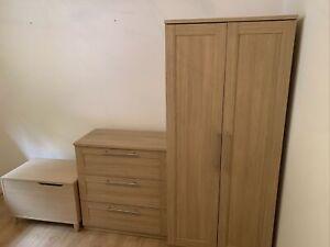 Oak Effect Mamas and papas nursery Bedroom Wardrobe furniture set & Blanket Box