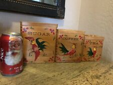 Vintage Rooster Canister Set Wooden Wood  Sugar Coffee Tea (Please Read)