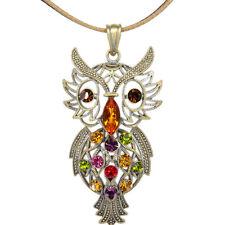 """Owl Night Bird Pendant Leather Necklace Jewelry Austrian Crystal Multi-color 3"""""""