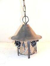 Linterna lámpara GALVANIZADA con cadena vidrio y hierro forjado rosas preciosa