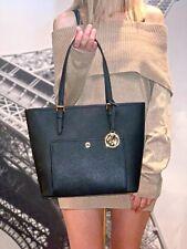 Michael Kors Jet Set Medium Top Zip Snap Pocket Tote Leather Bag Black