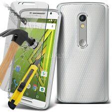 Transparente Ultra Slim Gel Funda Y Vidrio Protector De Pantalla Para Motorola Moto X Juego