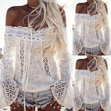 Sexy Off Shoulder Blouse Womens Boho Lace Crochet Loose T-shirt Top Summe Dzco