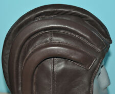 VTG ANTIQUE MOTORCYCLE RIBBED CAR BROWN LEATHER HOOD HELMET AVIATOR PLANE RIDER
