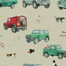 Christmas 4x4 Defender Land Rover Wrapping Paper Sheets & Tags Arty Penguin NEW