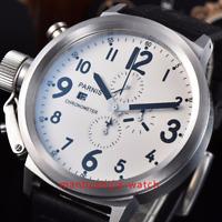 50mm PARNIS Big Face Weißes Zifferblatt Datum Quarz uhr Voller Chronograph watch