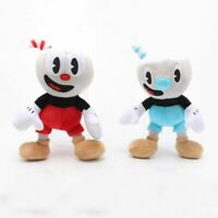 """10"""" Cuphead Game Mugman Mecup And Brocup Toy Figure Soft Stuffed Plush Gift Doll"""