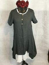 LINEN DOUBLE LAYERED DRESS. HIPPY BOHEMIAN, QUIRKY, LAGENLOOK. PLUS SIZES RRP105
