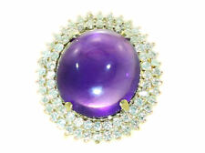 16.93ctw Diamond and Amethyst Set in 18K Yellow Gold Ring
