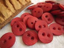lot 15 boutons rouge rosé strié 2 trous couture mercerie 1,5 cm ref 1978