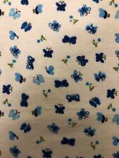 """Blue Butterfly Print Flannel Fabric - Sold By The Yard - 45"""""""