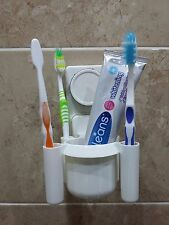White plastic toothbrush and toothpaste wall pot holder with suction cup SQ-1055